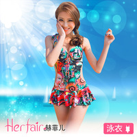 "2013 Resort preferred new bikini brand ""Sunflowers"" vintage swimwear sexy push up padded deep V one-piece swimsuit for women"