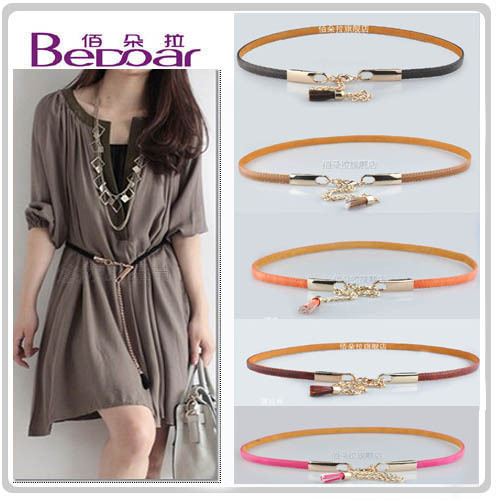 Dora fashion japanned leather tassel multi-color belly chain high quality exquisite women's strap(China (Mainland))