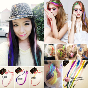 Neon color HARAJUKU 2.3 gradient color small wig hair extension piece side-knotted clip hairpin hair pin(China (Mainland))