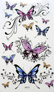 Hm302 tattoo stickers waterproof female butterfly series tattoo paper(China (Mainland))
