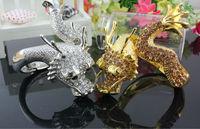 2PCS FABULOUS GOLD SILVER CHINESE FLYING DRAGON BANGLE BRACELET CRYSTAL STONES