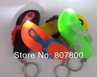 40pcs/lot Mini Slippers Shape Led light flashlight keychain creative practical key chain pendant LED Gifts Free shipping