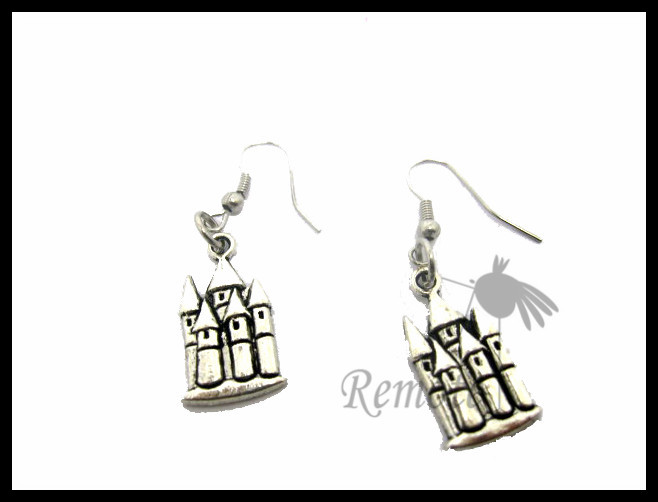 castle earring once upon a time wizard school medieval EARRING ER603(China (Mainland))