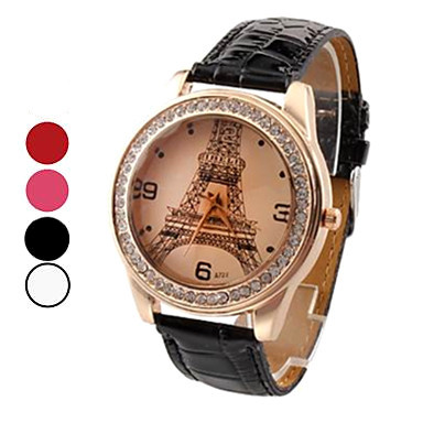 DLTW052 Black/White/Red/Rose Casual Luxurious Diamond Eiffel Tower Wristwatch Ladies&#39; Quartz Leather Fashion Watch Free Shipping(China (Mainland))