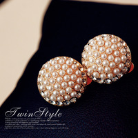 Free shipping Free shipping Stud earring earrings pearl diamond elegant female new arrival