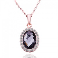18K rose gold plated pendant necklace nickel free 2013 health care fashion jewelry with rhinestone LN531