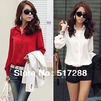 New 2014 Fashion Korean Women's Clothing Long Lantern Sleeve Solid Color Button Temperament Casual Ladies Tops Blouse Shirt 0279
