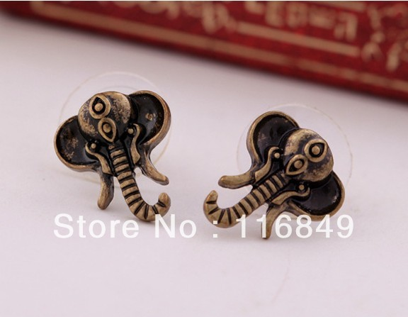 Free shipping Min.order $15,mixed order, vintage gold elephant stud earrings(China (Mainland))