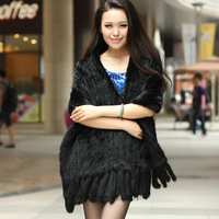 2013 spring fur rex rabbit hair cape medium-long knitted rabbit tassel fur shawl g64