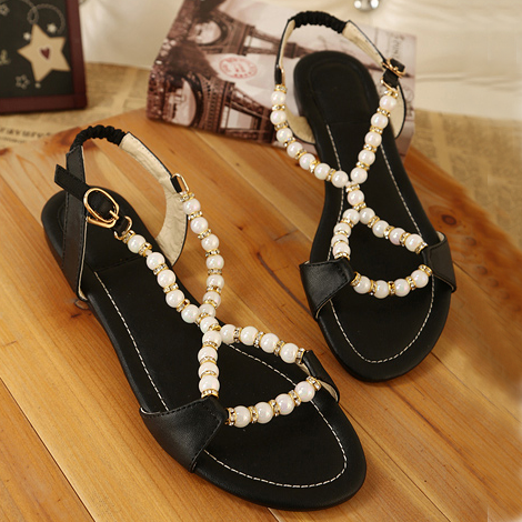 Free shipping Free shipping 2013 princess cross-strap pearl sweet beaded rhinestone comfortable all-match button flat sandals(China (Mainland))
