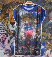 FREE SHIPPING~Harajuku Colorful animal park fast-paced world T-shirt short-sleeved chiffon shirt women