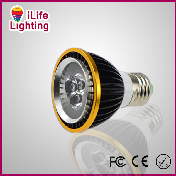 Fedex Free 50pcs/lot Die-cust Aluminum E27 GU10 3W 9W PAR20 Spotlight Bulb Lamp AC 85-265V warm cool white for wholesale(China (Mainland))