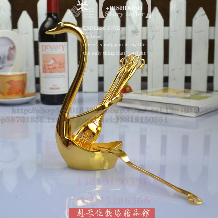 Fruit fork set gold 7 piece set fashion home decoration(China (Mainland))