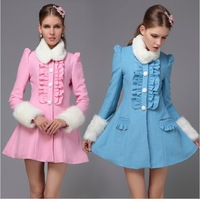 825 # 2012 NEW WINTER CLOTHING CULTIVATE ONE'S MORALITY FALBALA INSERTED WHITE CLOTH COAT