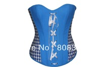 Free Shipping Push Up Corset Sexy Lingerie with G-string Women Bustier Gothic Corset Shaper Blue Black Color MOQ 1 Piece 5815