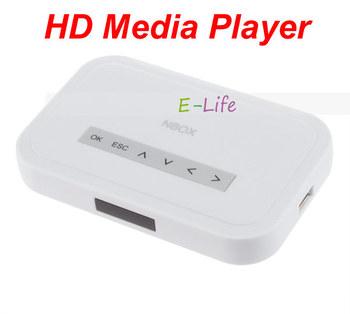 NBOX Flash HDD USB SD Card Media Player RMVB MP3 AVI MPEG Divx 720P Free shipping