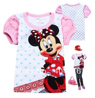 2013 new Summer cotton Minnie Mouse t shirts for children 6pcs/lot girls' clothing short-sleeve Minni kids children's t-shirts