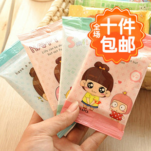 10pcs/lot freeshipping 3088 cartoon graphic patterns cleansing wet wipe girl makeup remover paper unoil moisturizing(China (Mainland))