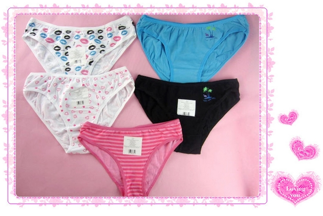 Fashion young girl women's 100% cotton cute panties breathable cotton low-waist panties fabric(China (Mainland))