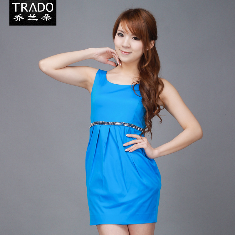 Women's sexy sleeveless 2012 racerback tank dress gem blue bud skirt(China (Mainland))