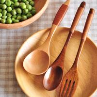 Zakka natural eco-friendly wooden log coffee spoon fork spoon set kitchen supplies tableware 3pcs