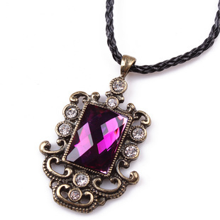 2012 bohemia national trend vintage royal purple square - eye design necklace female short(China (Mainland))