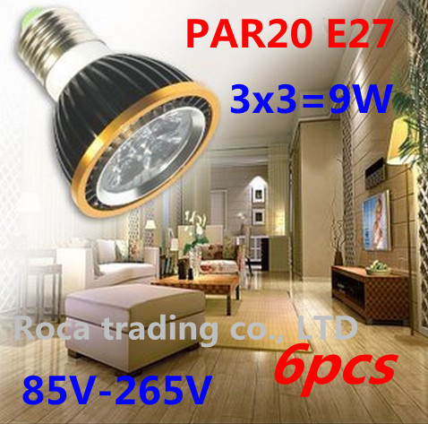 6Pcs/lot Par20 E27 3X3W 9W Dimmable Led Lamp Spotlight Led Bulbs 85V-265V Energy Saving Free shipping(China (Mainland))