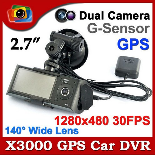 Brand New X3000 Dual Camera Car DVR Recorder GPS G-Sensor Front Back Lens 2.7 Inch LCD 140 Degree Angle Drop Free Shipping(China (Mainland))