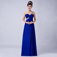 long design royal blue red purple chiffon one shoulder bridesmaid dress
