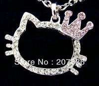 2013 NEW Wholesale 3pcs/lot Crystal Hello Kitty crown necklace.Hello qKitty jewelry.Lovely necklace.TOP uality.Free shipping