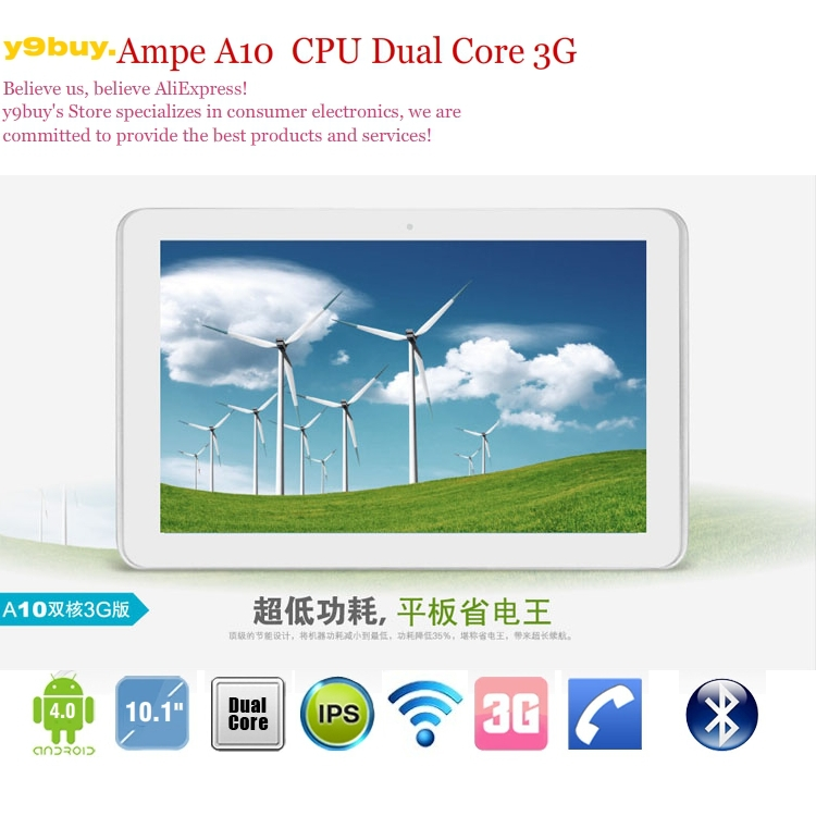10inch Ampe A10 3G GPS Version Tablet PC WCDMA Phone Call Android 4.0 Dual Core 1.2GHz IPS Capacitive 1280X800 pixels(China (Mainland))