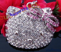 2013 NEW Wholesale big Crystal Hello Kitty necklace. jewelry.Lovely necklace.TOP quality.Free shipping