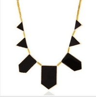 hot selling 2014 Big Star style Hilton Love black geometric irregular short charm Necklace 0095