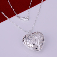 Christmas sale Wholesale High Quality Fashion Jewelry Necklace 925 Silver Necklace Free Shipping Inlaid Heart Necklace N224