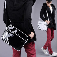 2013 New fahion Man bag, japanned leather shoulder bag, Men's sports messenger bag, casual student schoolbag,Free shipping