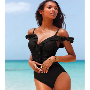 Dress sexy for beach Black one piece swimsuit European and American Sexy conjoined hot swimwear(China (Mainland))
