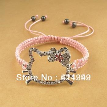 Free Shipping HOT Hello Kitty Shambala Bracelet 2014 Fashion Happy Girl Charm Bracelets Lovely Hand Chain HKB10