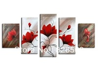 100% Hand painted dream Waving red flowers Abstract landscape Wall home Decor Oil Painting on canvas 5pcs/set