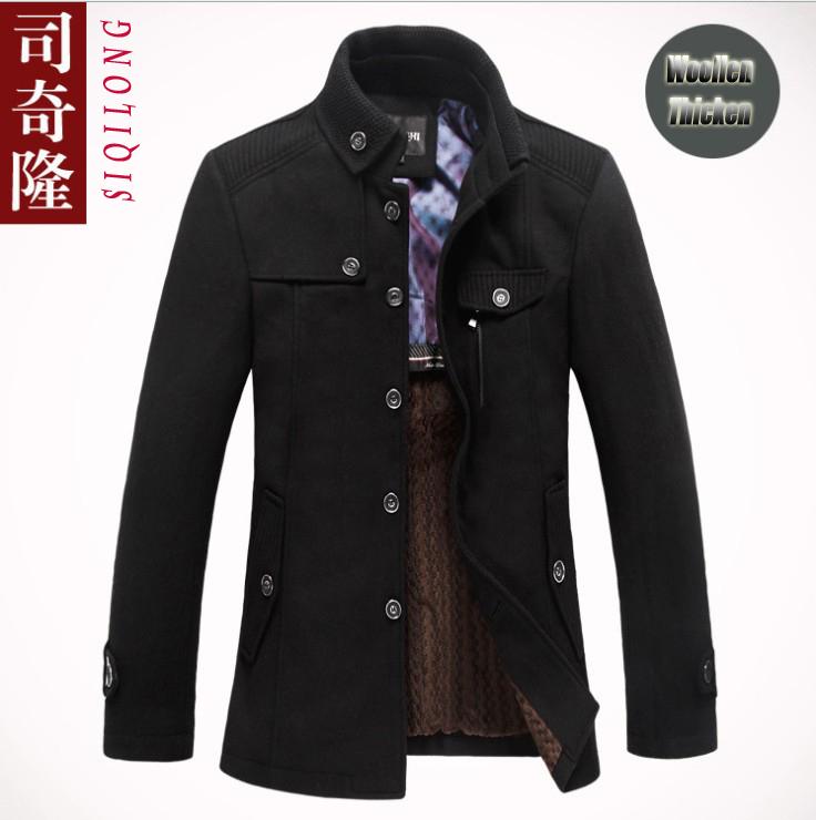 2015 High Quatity Marca giacca per uomo cappotti casual mens ispessiscono  giacche di lana cappotto moda uomo giacca invernale uomini soprabito 1b9246df771