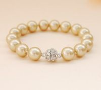 Bridal Lady's South Seas 10mm gold round new buckle sallei pearl bracelet