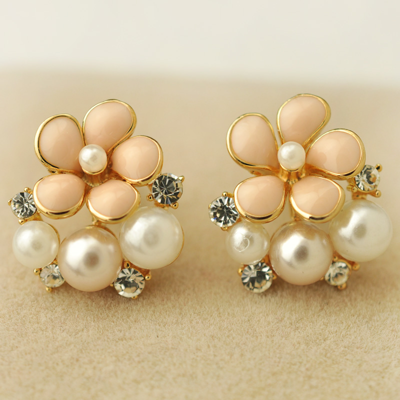 Elegant flower pearl stud earring female no pierced earrings accessories jewelry f2404(China (Mainland))