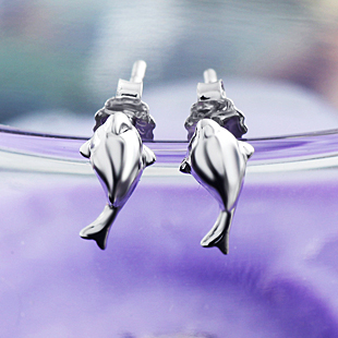 2013 dolphin fish earrings s925 pure silver stud earring anti-allergic zhaohao female