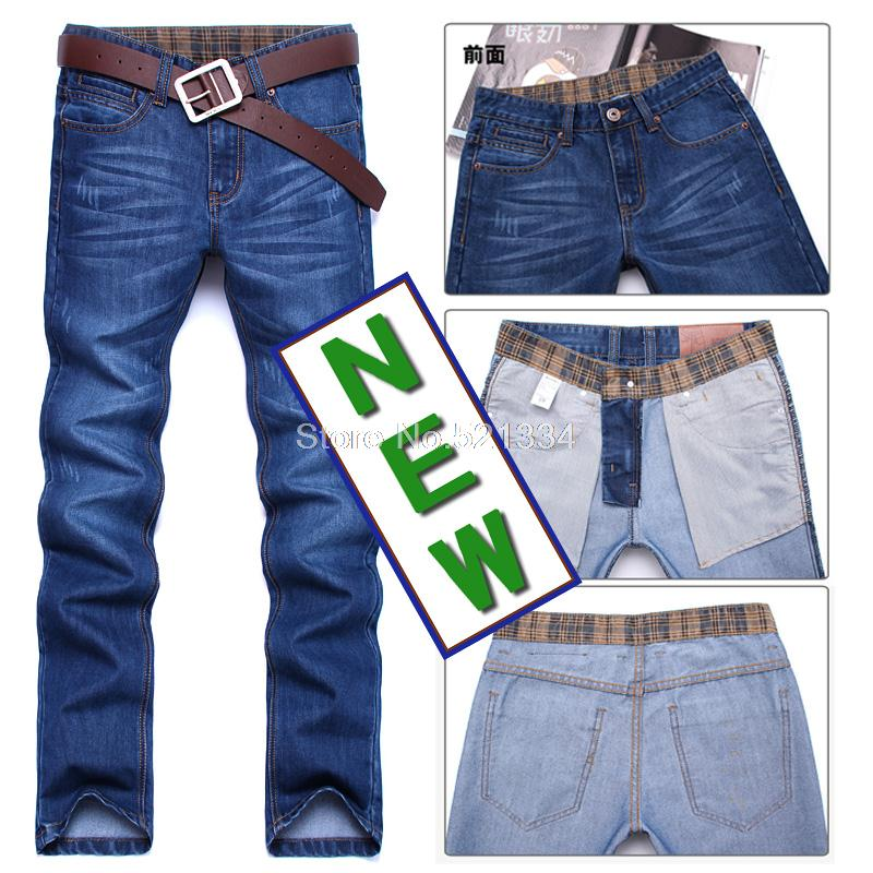 Free Shipping 2013 new men's jeans the blue tide with cloth straight Korean Slim Men Jeans Leisure(China (Mainland))