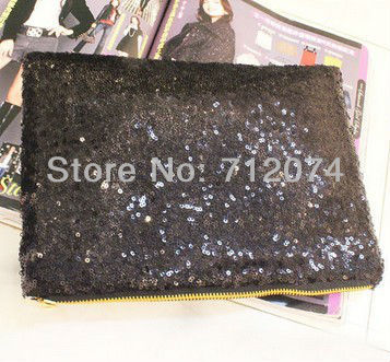 Women'S lady's Clutch Purse HandBag paillett Hand Tote Bag sequined Cosmetic Baguette black color free shipping(China (Mainland))