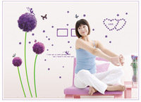 2013 new Free shipping Wall Stickers kids wallpaper 3d decor home decoration wall art , living room,Spring, dandelion, purple