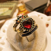 12sets/lot Wholesale Supreme Court Gem Rings Set (Crown+Heart+Belt) Vintage Statement Jewelry Set Bijouterie Women Decoration