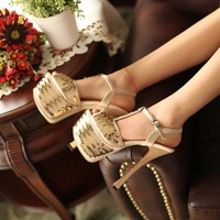 Wholesale 2013 summer new ladies sequined sandals fine with waterproof fish head high-heeled nightclub 142