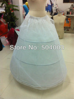 Free Shipping In Stock 3-Hoops White Petticoat Popular Underskirt For Wedding Dress