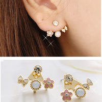 Min.order is $10 (mix order) 2012 New Arrival Free Shipping Cute Flower Pink Stud Earrings New Fashion Jewelry
