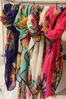 fashion scarf 2013  new style woman big  flowers package edge  silk scarf , chiffon shawl  square scarf140*100cm  H-033